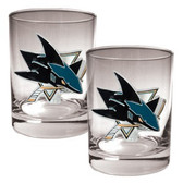 San Jose Sharks 2pc Rocks Glass Set - Primary Logo
