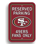 San Francisco 49er's Plastic Parking Sign - Reserved Parking