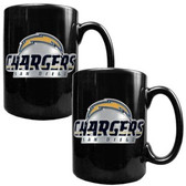 San Diego Chargers 2pc Black Ceramic Mug Set - Primary Logo