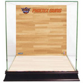Phoenix Suns Logo On Court Background Glass Basketball Display Case