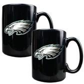 Philadelphia Eagles 2pc Black Ceramic Mug Set - Primary Logo