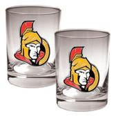 Ottawa Senators 2pc Rocks Glass Set - Primary Logo