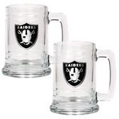 Oakland Raiders 2pc Glass Tankard Set