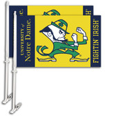 Notre Dame Car Flag w/Wall Bracket Set Of 2 97136