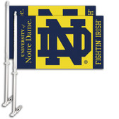 Notre Dame Car Flag w/Wall Bracket Set Of 2