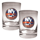New York Islanders 2pc Rocks Glass Set - Primary Logo