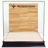 New Orleans Pelicans Logo On Court Background Glass Basketball Display Case