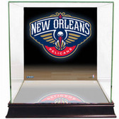 New Orleans Pelicans Logo Background Glass Basketball Display Case