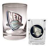 New Jersey Nets Rocks and Shot Glass Set