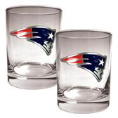New England Patriots 2pc Rocks Glass Set