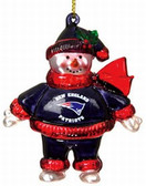 "New England Patriots 2 3/4"" Crystal Snowman Ornament"