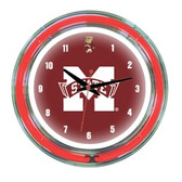 "Mississippi State Bulldogs 14"" Neon Wall Clock"
