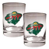 Minnesota Wild 2pc Rocks Glass Set - Primary Logo