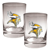 Minnesota Vikings 2pc Rocks Glass Set