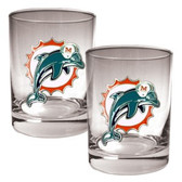 Miami Dolphins 2pc Rocks Glass Set