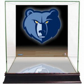 Memphis Grizzlies Logo Background Glass Basketball Display Case