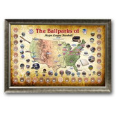 Major League Baseball Parks Map 20x32 Framed Collage with Game Used Dirt From 30 Parks