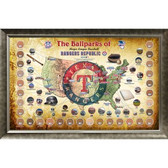 Major League Baseball Parks Map 20x32 Framed Collage w/ Game Used Dirt From 30 Parks - Rangers Version