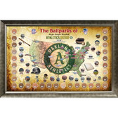 Major League Baseball Parks Map 20x32 Framed Collage w/ Game Used Dirt From 30 Parks - Athletics Version