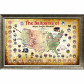 Major League Baseball Parks Map 20x32 Framed Collage w/ Game Used Dirt From 30 Parks