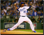 Kansas City Royals 16x20 Stretched Canvas Yordano Ventura Game 6 of the 2014 World Series Action