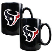Houston Texans 2pc Black Ceramic Mug Set - Primary Logo