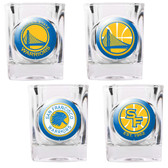 Golden State Warriors 4pc Square Shot Glass Set
