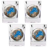 Detroit Lions 4pc Square Shot Glass Set