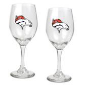 Denver Broncos 2pc Wine Glass Set