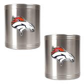 Denver Broncos 2pc Stainless Steel Can Holder Set