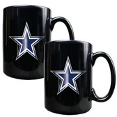 Dallas Cowboys 2pc Black Ceramic Mug Set - Primary Logo