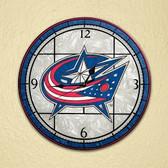"""Columbus Blue Jackets 12"""" Art Glass Clock"""
