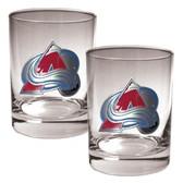 Colorado Avalanche 2pc Rocks Glass Set - Primary Logo