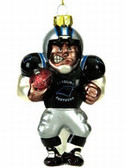 Carolina Panthers Blown Glass Football Player Ornament