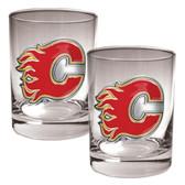 Calgary Flames 2pc Rocks Glass Set - Primary Logo