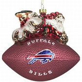 "Buffalo Bills 5 1/2"" Peggy Abrams Glass Football Ornament"