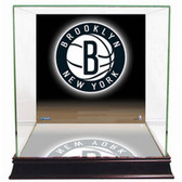 Brooklyn Nets Logo Background Glass Basketball Display Case