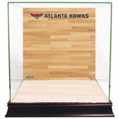 Atlanta Hawks Logo On Court Background Glass Basketball Display Case