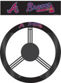 Atlanta Braves Poly-Suede Steering Wheel Cover