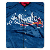 "Atlanta Braves 50""x60"" Royal Plush Raschel Throw Blanket - Jersey Design"