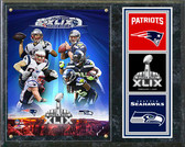 Super Bowl XLIX Seattle Seahawks Vs. New England Patriots Match Up Composite Plaque