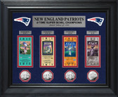 New England Patriots 4-time Super Bowl Champions Deluxe Silver Coin & Ticket Collection