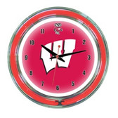 "Wisconsin Badgers 14"" Neon Wall Clock"