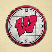 "Wisconsin Badgers 12"" Art Glass Clock"