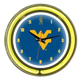 "West Virginia Mountaineers 14"" Neon Wall Clock"