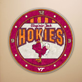 "Virginia Tech Hokies 12"" Art Glass Clock"