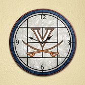 "Virginia Cavaliers 12"" Art Glass Clock"