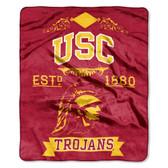 "USC Trojans 50""x60"" Royal Plush Raschel Throw Blanket -  Label Design"