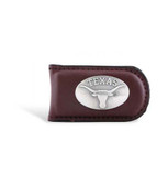 Texas Longhorns Brown Leather Magnetic Money Clip