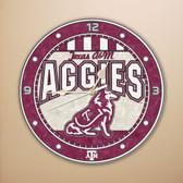 """Texas A&M Aggies 12"""" Art Glass Clock"""